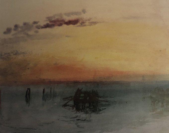 3Venezia-veduta-della-laguna-al-tramonto-1840-Acquerello-su-carta-Turner